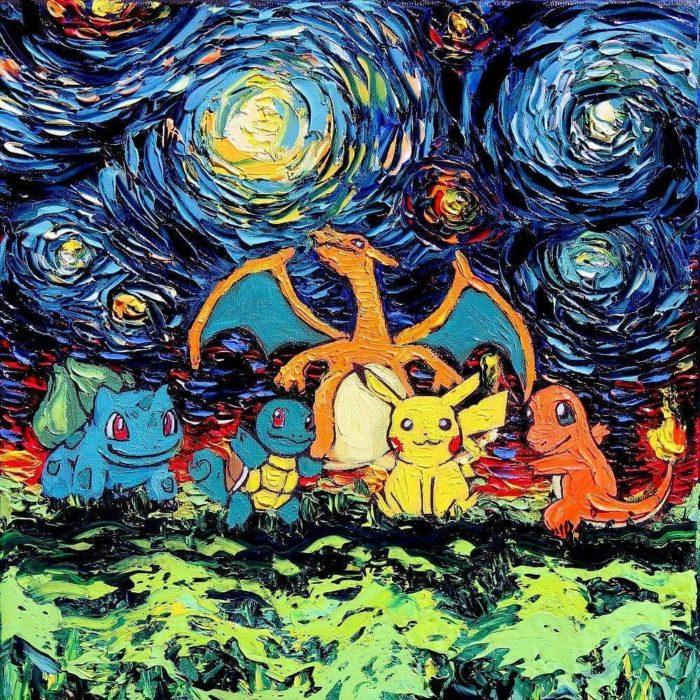 Cuando pikachu visit la noche estrellada de van gogh salir con arte - Decor art quadri bari ...